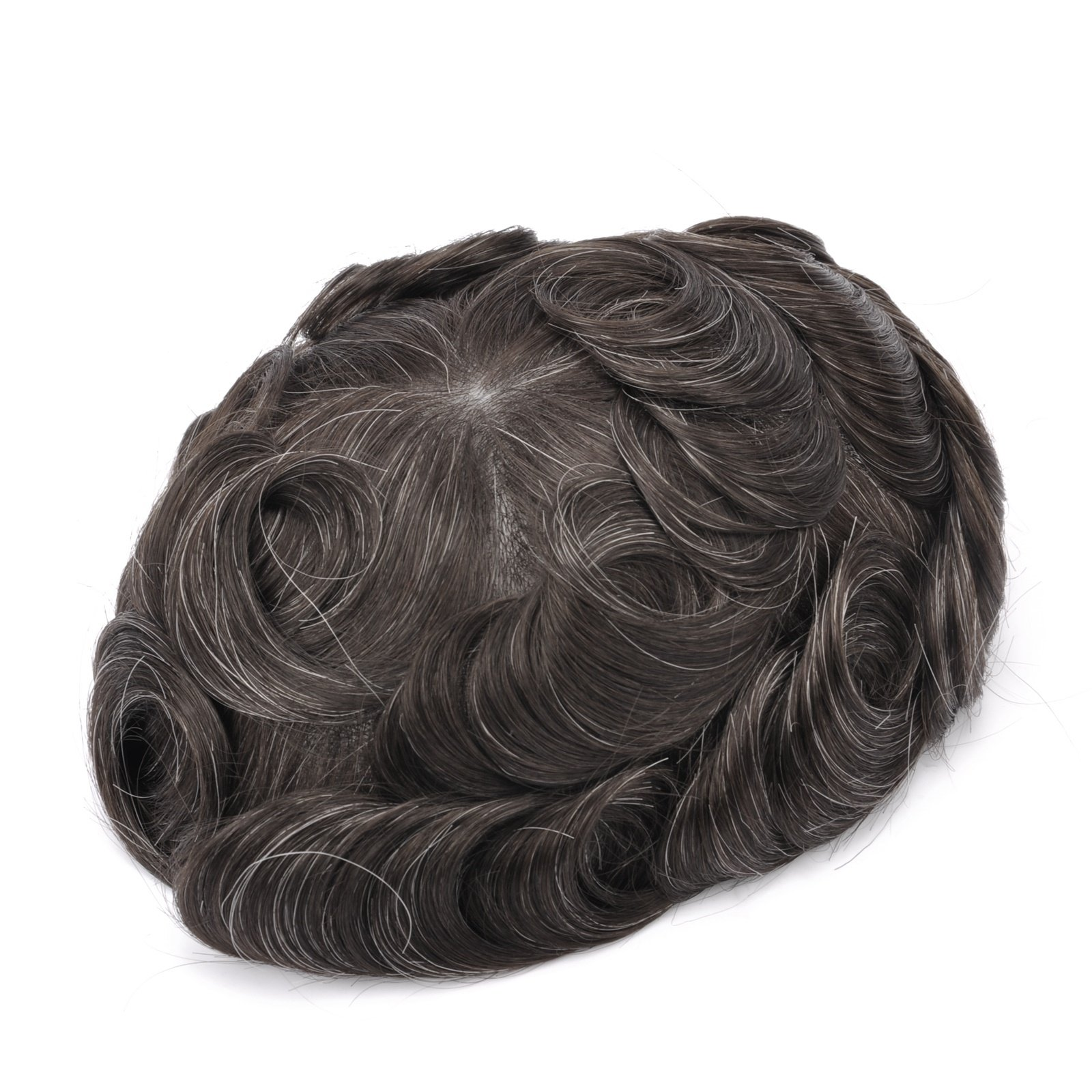 GEX 56 Colors Men's HairPiece Toupee Human Hair Replacement Systems French Lace Base Slight Wave Medium Density Vivid Men's Wig French Lace(310)