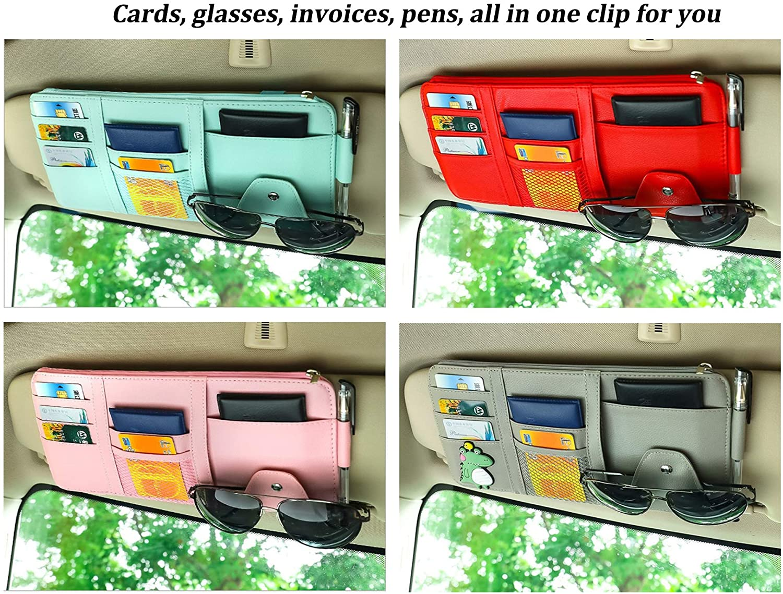Interior Accessories Pocket Organizer SEMBEM Car Sun Visor Organizer Auto Interior Accessories Pocket Organizers Personal Belonging Storage Pouch Organizer Blue Registration and Document Holder