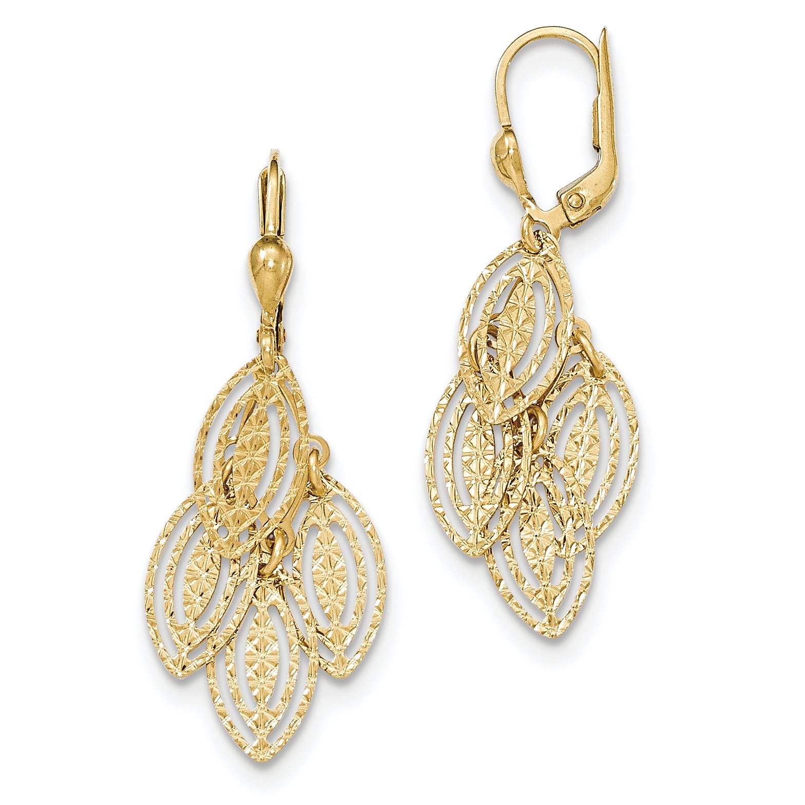 ICE CARATS 14k Yellow Gold Textured Drop Dangle Chandelier Leverback Earrings Lever Back Fine Jewelry Gift Set For Women Heart