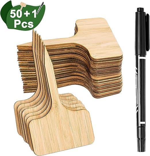 Whaline 50Pcs Etiquetas de Plantas de Bambú con un Rotulador, Etiquetas de Signo de Plantas de Madera T-Tipo Marcadores de Jardín para Semillas Hierbas Flores Vegetales (6 x 10 cm): Amazon.es: Jardín