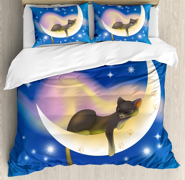 Cat布団カバーセットby Ambesonne , Cat Sleeping On Crescent Moon Stars Night Sweet Dreamsテーマキッズ子供部屋デザイン、装飾寝具セット枕、ブルーイエロー キング nev_25251_king B075MQRDX2マルチ1 キング