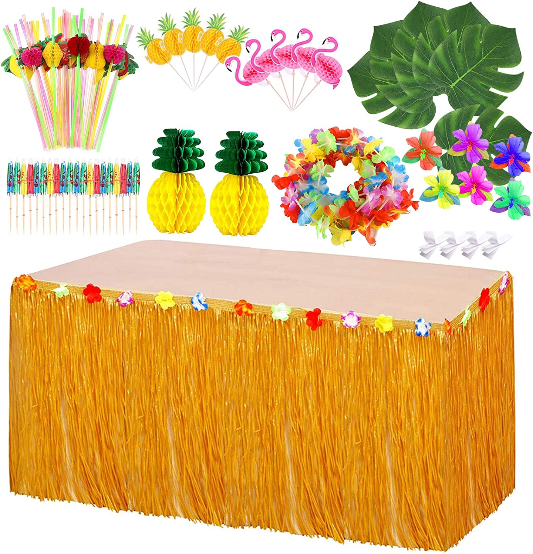Hawaiian Luau Grass Table Skirt Hawaiian Tropical Party Decorations Set for Tiki Aloha Party Summer Jungle Supplies Island Moana Theme Party Decor Events Birthdays Celebration(Brown)