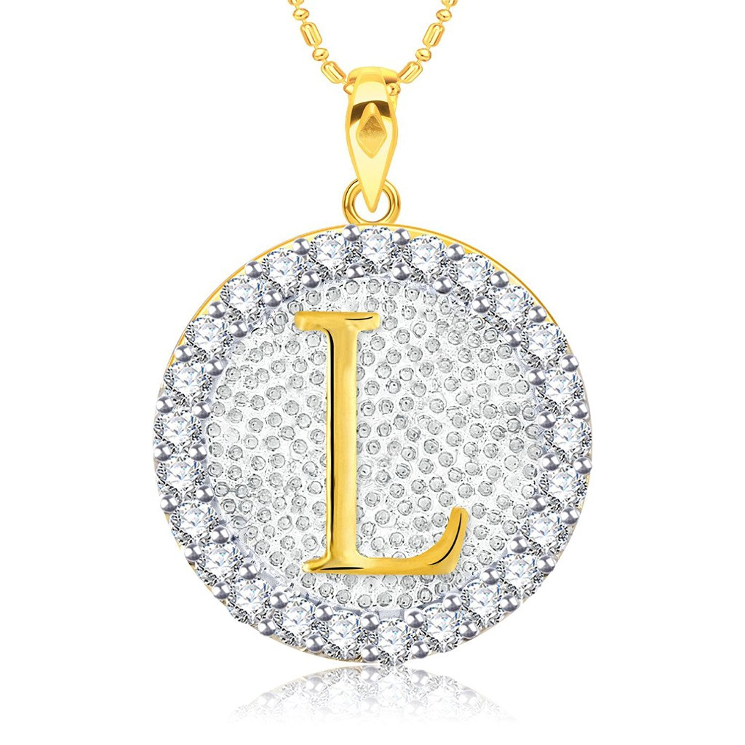 Simulated Diamond Studded Fashion Initial Alphabet Letter L Pendant Necklace in 14K Yellow Gold Plated With Box Chain