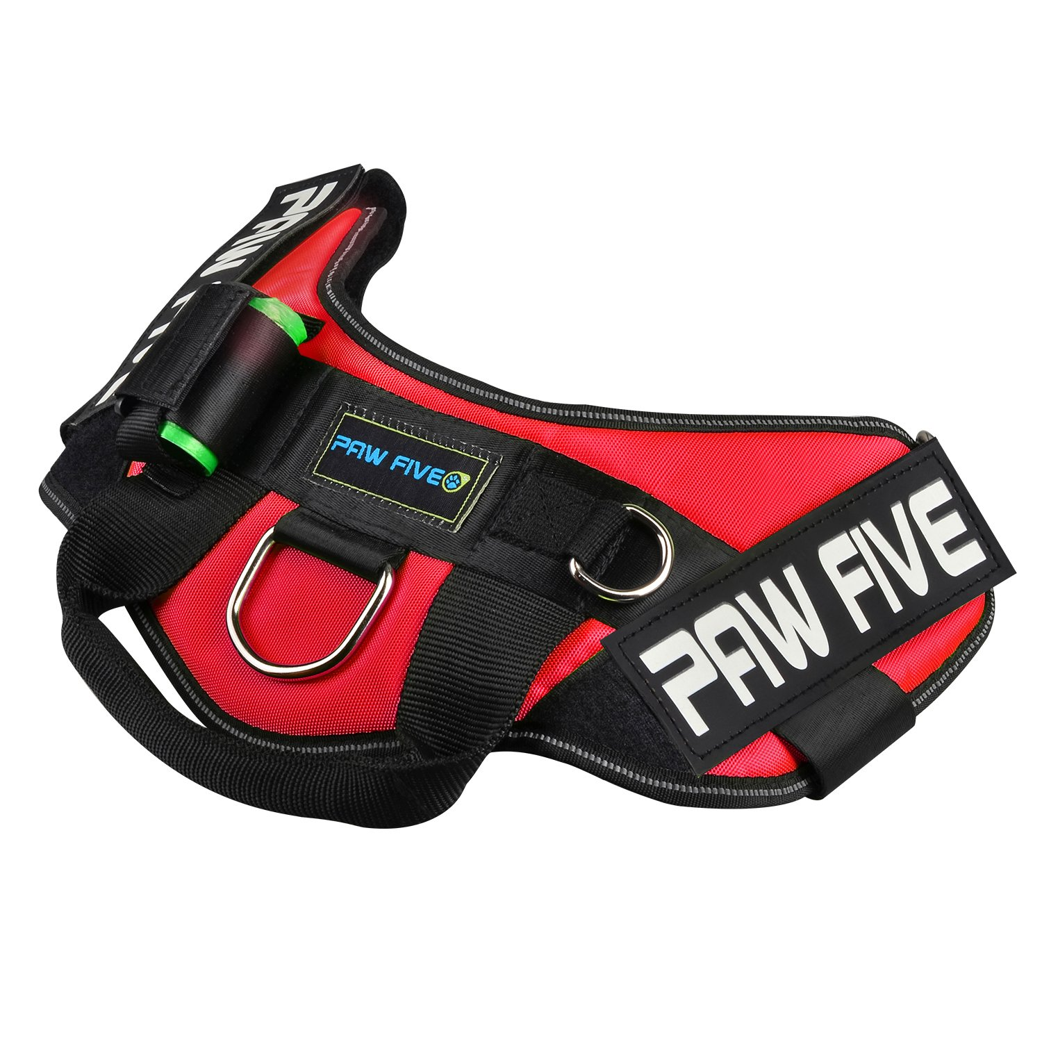 Paw Five CORE-1 Reflective Dog Harness with Built-in Waste Bag Dispenser Adjustable Padded No-Pull Easy Walk Control for Medium and Large Dogs, Check Sizing Chart Before Ordering (Medium, Lava Red) by Paw Five (Image #5)