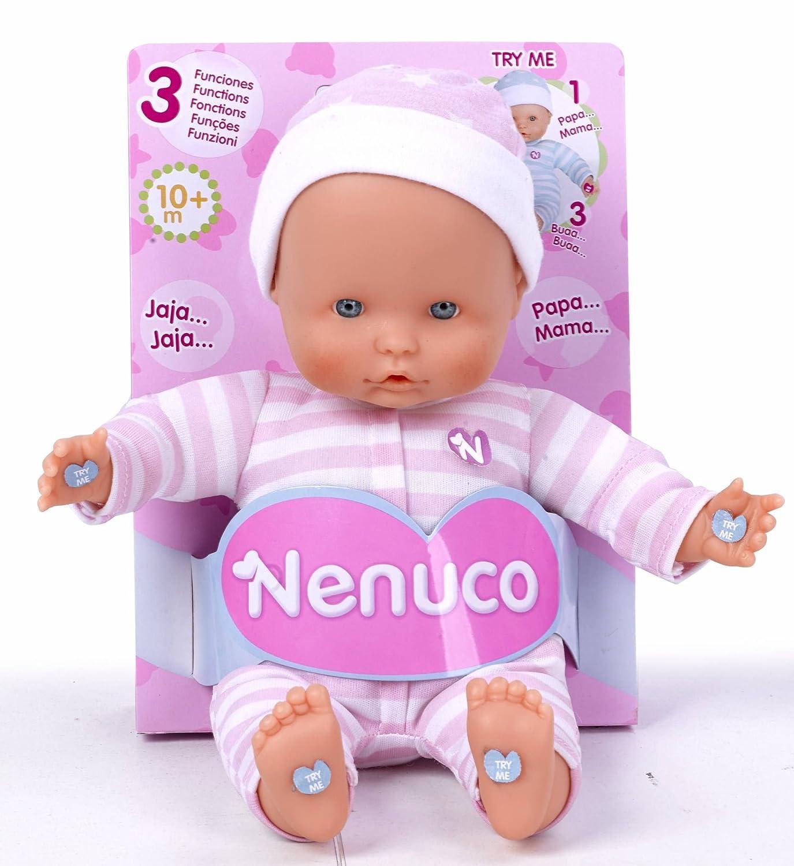 Nenuco - Muñeco Blandito 3 Funciones, blanco con pijama rosa (Famosa 700014881)