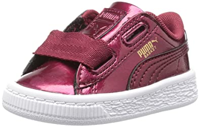 17dcdc8192eaa3 PUMA Girls  Basket Heart Glam Kids Sneaker Tibetan Red