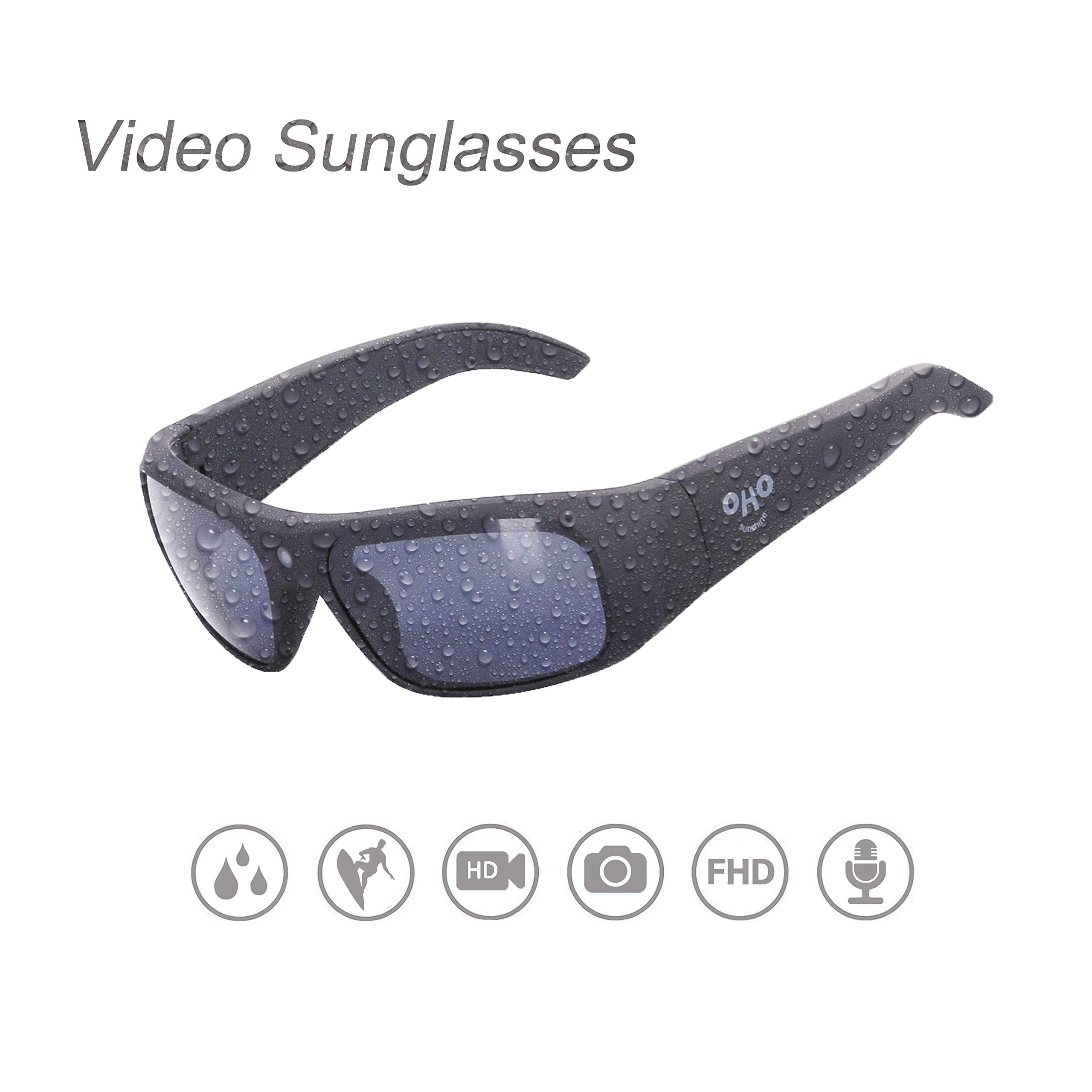 OhO sunshine Waterproof Video Sunglasses,32G Ultra 1080P HD Video Recording Camera Polarized UV400 Protection Safety Lenses,Unisex Design