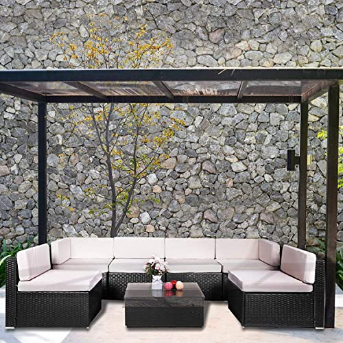 Aclumsy 7-Piece Outdoor Patio Furniture Set-PE Rattan Wicker Sofa Se, Black