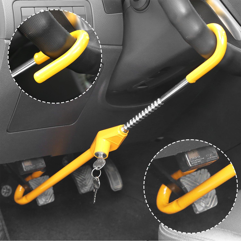 FIXKIT Bloqueo de Volante para Coche Dispositivo Antirrobo de Automóvil Doble Bloqueo de Volante y Embrague con 2 Llaves 55.5 - 76cm Color Amarillo: ...