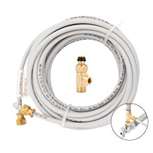 "PEX Ice Maker Installation Kit – 25 Feet of Tubing For Appliance Water Lines With Stop Tee For Quick Installation, 1/4"" Compression Fittings, Flexible Hose For Potable Drinking Water"