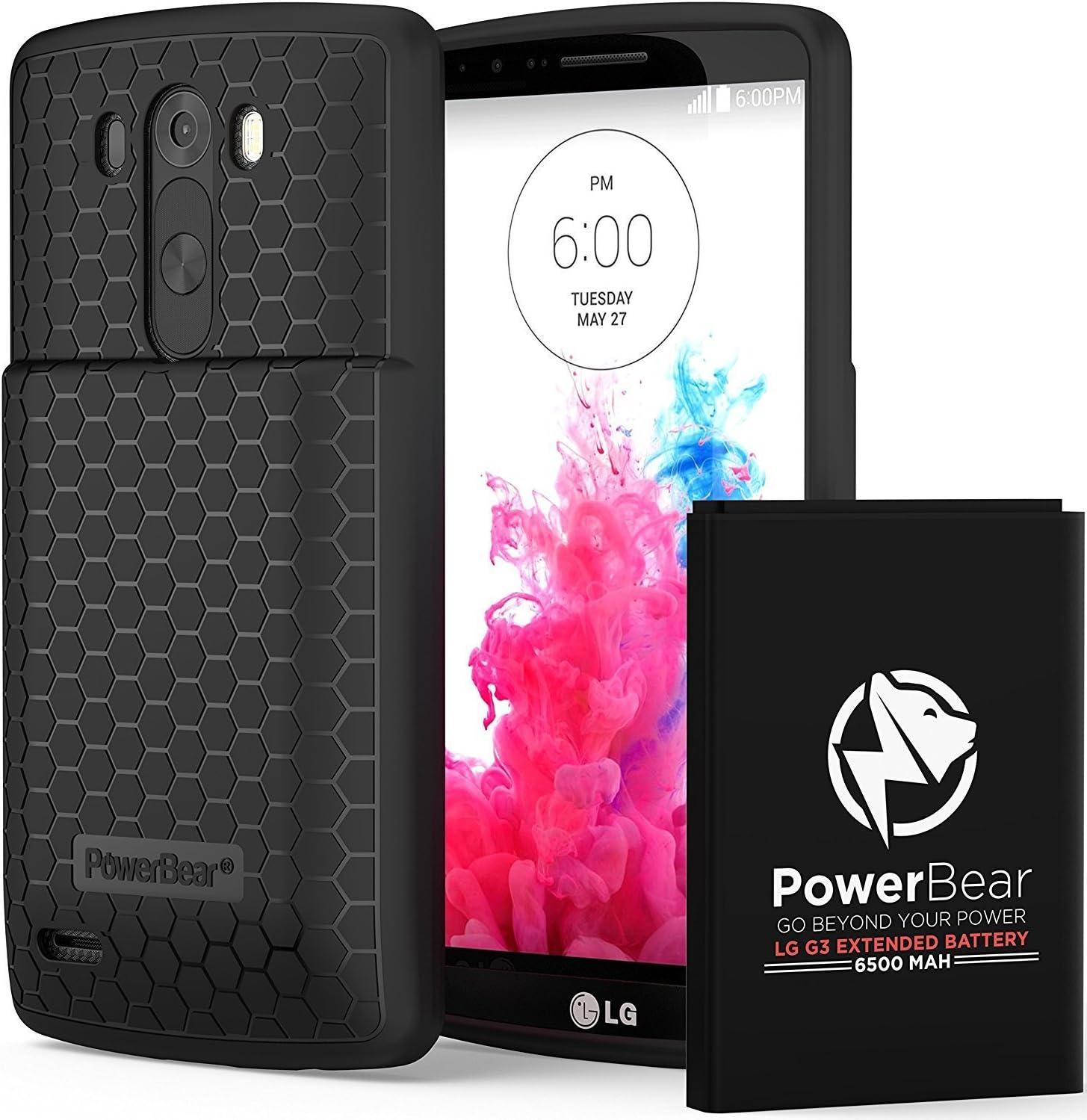 PowerBear Batería Extendida Compatible para LG G3 [6.500mAh ...