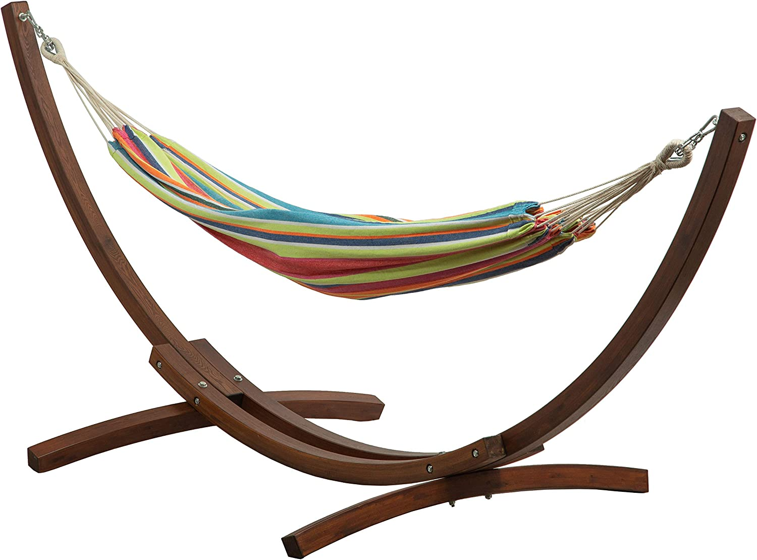 BELLEZE Double Cotton Hammock Bed with 10 ft Wooden Arc Outdoor Patio Hammock Stand, Tropical
