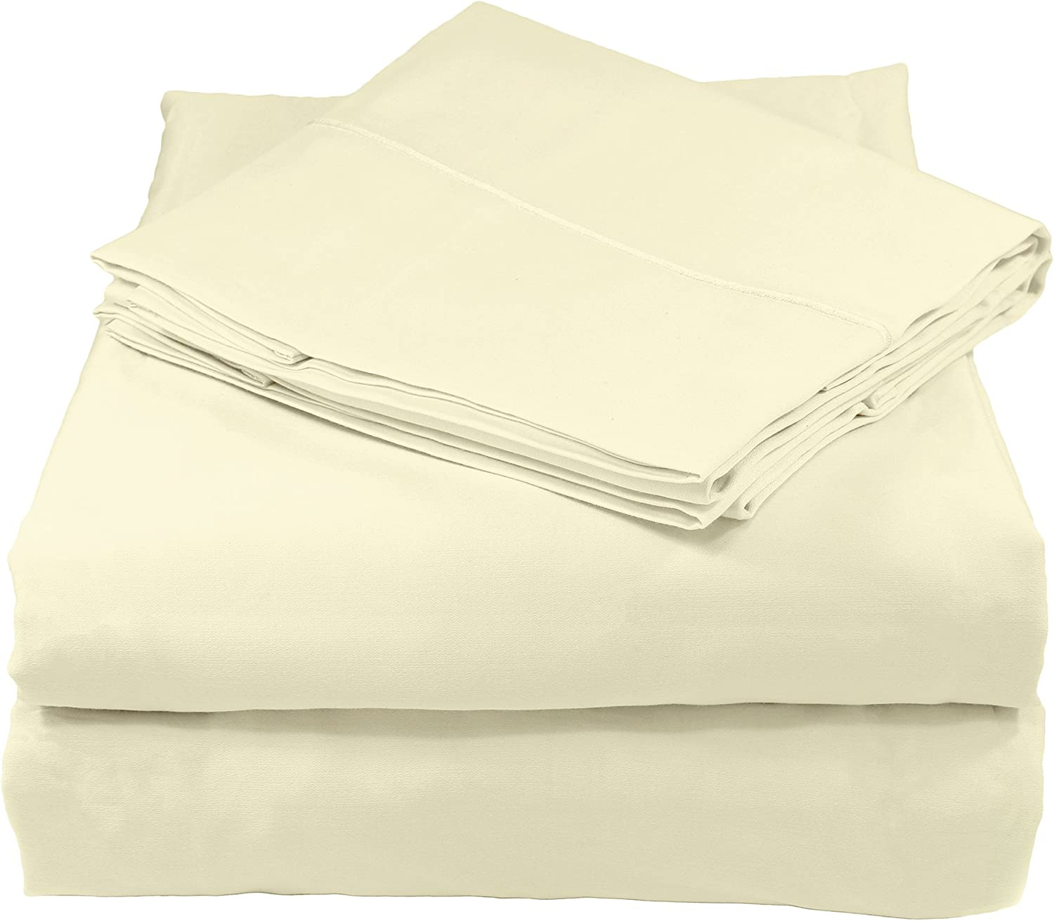 Whisper Organics Organic Cotton Sheets Set GOTS Certified, 400 Thread Count, Sateen (California King, Natural)