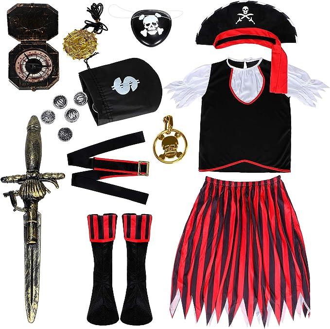 vamei 11pcs Disfraz Pirata para niño con Pirata Accesorios Deluxe ...