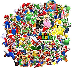BATTER 50PCS Super Mario Stickers Laptop Sticker Waterproof Vinyl Stickers Car Sticker Motorcycle Bicycle Luggage Decal Graffiti Patches Skateboard Water Bottle Sticker
