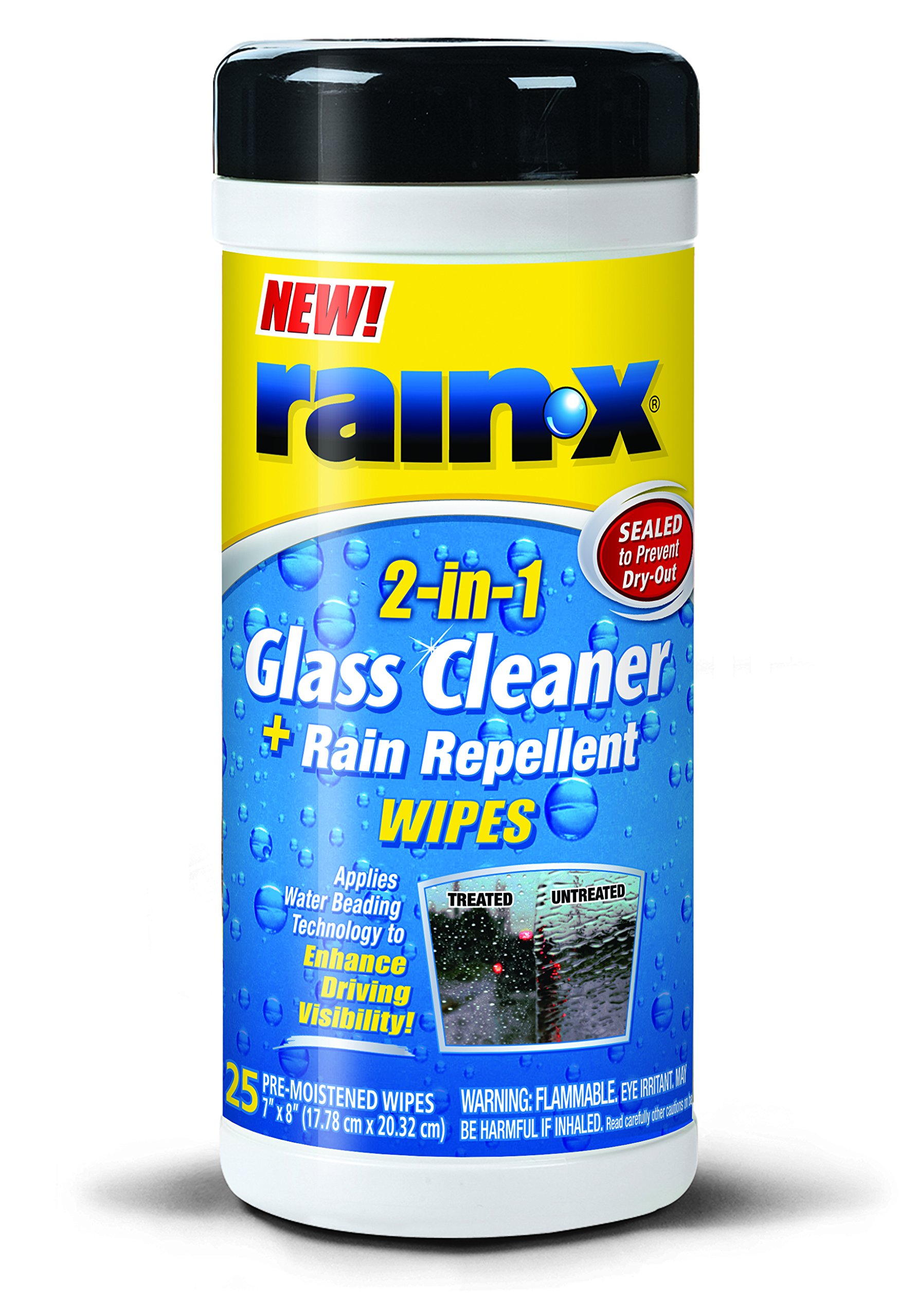 Rain-X 630022-6PK 2-in-1 Glass Cleaner and Rain Repellent Wipes - 25 Count (Pack of 6)