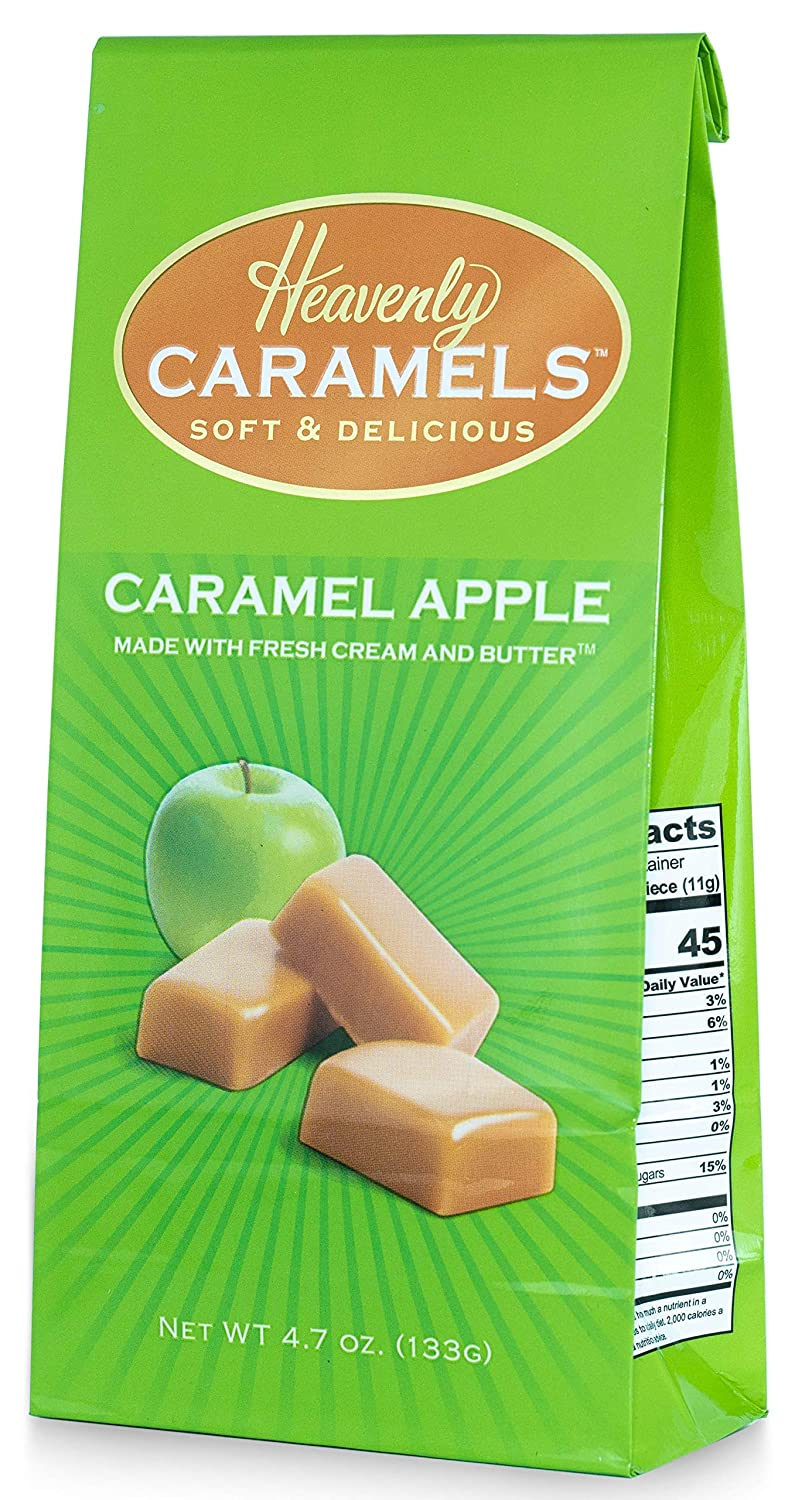 J Morgan Confections Heavenly Caramel | Caramel Apple Flavor | 4.7 oz Bag, 4-Pack | Gourmet Soft and Chewy Butter Caramel Candies | Hand-Crafted Golden Treats