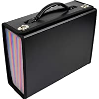 Accordian File Organizer | 24 Pockets | Expanding File Folder | Letter, A4 Size File Box | Premium Durable Handle for Buiness | Office | School | Home (Black with Color Pockets)