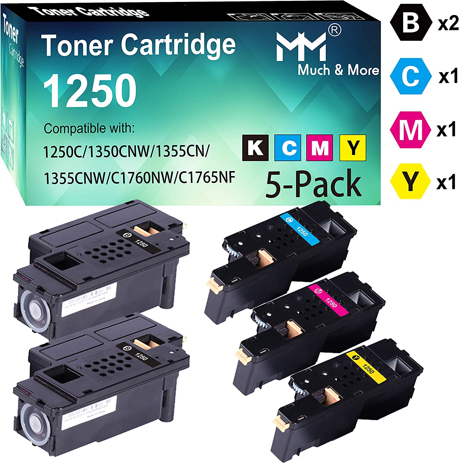 (5-Pack, 2X K+C+M+Y) Compatible Dell 810WH 1250 Toner Cartridge Used for Dell 1250c 1350cnw 1355cn 1355cnw C1760nw C1765nf C1765nfw Printer, by MuchMore
