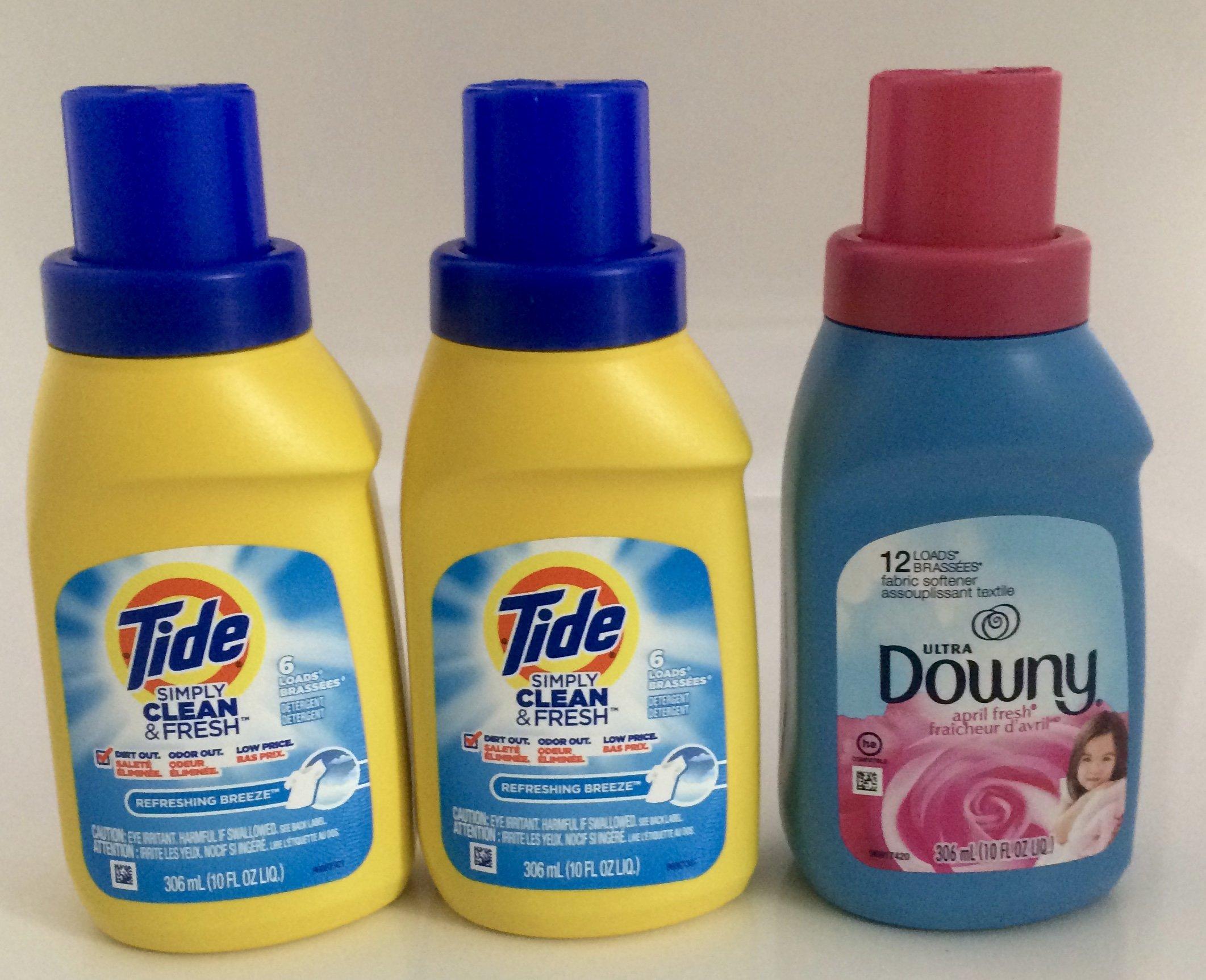 Travel Size Bundle (2) Tide 10oz Refreshing Breeze Laundry Detergent & Downy Ultra April Fresh Liquid Fabric Softener, 10 Oz