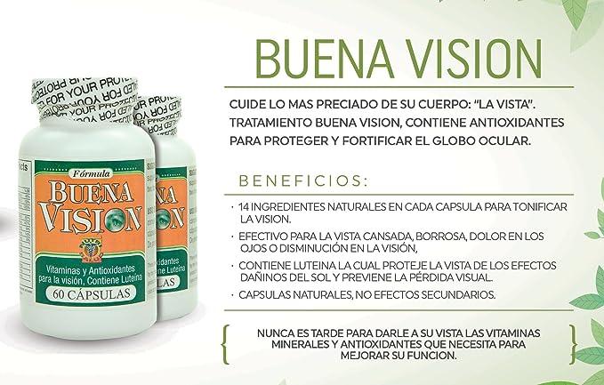 Capsulas Naturales Buena Vision, tratamiento para la vista cansada, borrosa, dolor en los ojos o disminucion en la vision. Contienen Luteina by Nutrisalud ...