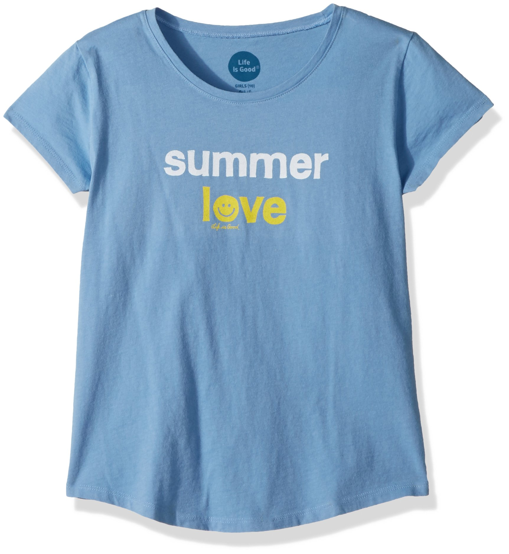 Life is Good Girl's Smiling Smooth Tee Summer Love, Powder Blue, XX-Large
