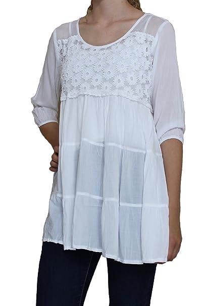Amazon.com: Encaje Bodice Color Blanco Blusa – # 215617 ...