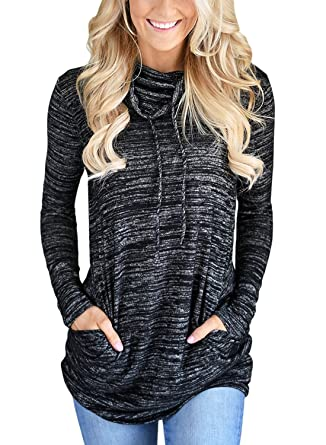 d8731a5910 Bdcoco Women s Cowl Neck Long Sleeve Casual Tunic Sweatshirt Tops With  Pockets