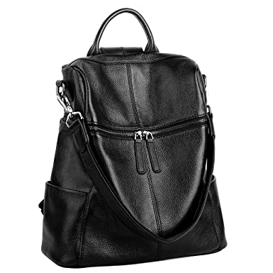 YALUXE Women s Real Leather Fashion Daypack Ladies Casual Backpack