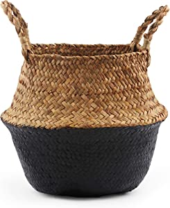BlueMake Woven Seagrass Belly Basket for Storage, Laundry, Picnic, Plant Pot Cover, and Grocery and Toy Storage (Black, Large)