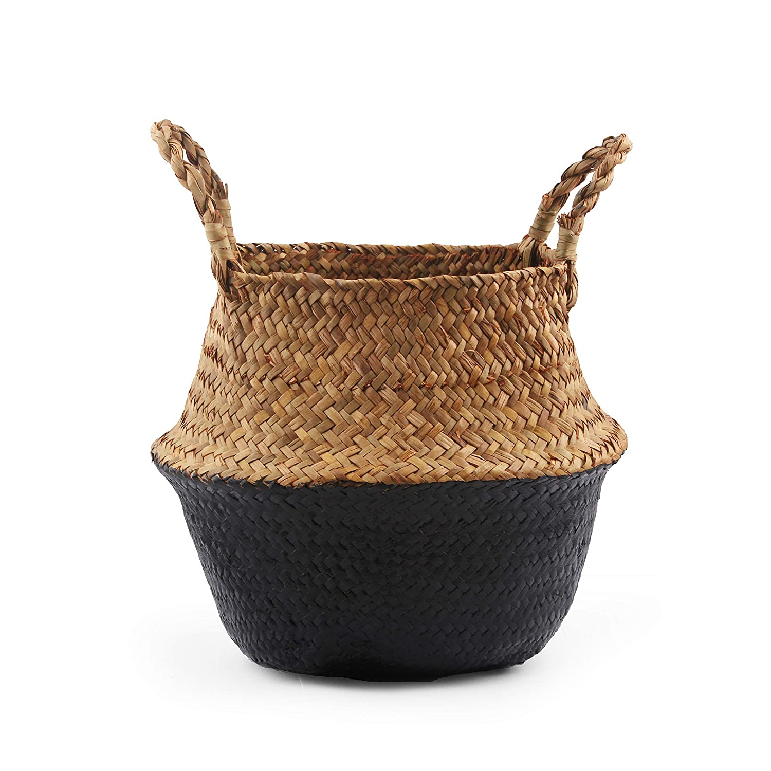 BlueMake Woven Seagrass Belly Basket for Storage, Laundry, Picnic, Plant Pot Cover, and Grocery and Toy Storage Large, Black
