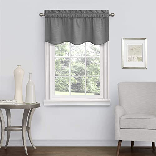 Eclipse Canova Blackout Thermaback Window Valance Curtains for Kitchen or Bathroom, 42 x 21 , Charcoal