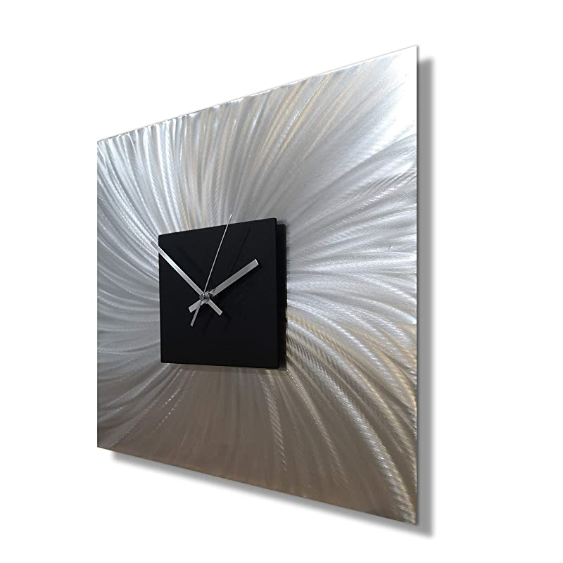 Large Square Wall Clock Silent Movement Unique Metal Decor Kitchen Wall Clock Abstract Wall Sculpture Amazon Co Uk Handmade