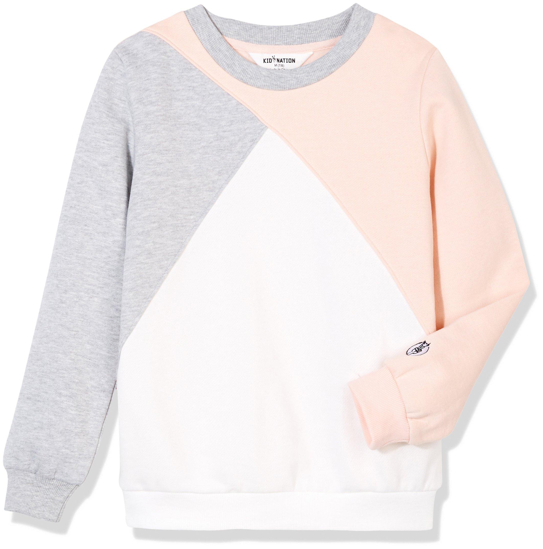 Kid Nation Girl's Sport Color Blocked Retro Fleece Sweatshirts S Gray/White/Seashell Pink