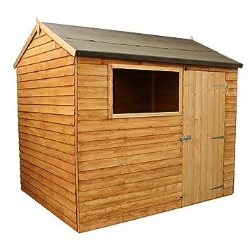 Waltons - Caseta de madera solapada (2, 44 x 1, 83 m, tejado a dos aguas inverso): Amazon.es: Jardín