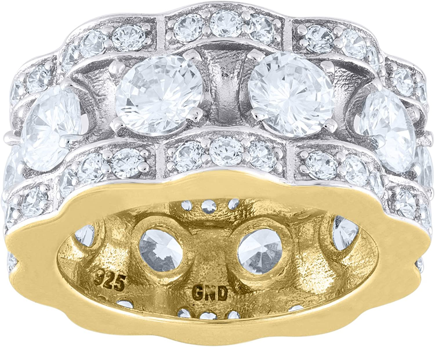 Jawa Jewelers Sterling Silver Mens Two-tone CZ Presidential SZ12-9.5mm Eternity Ring-SLV-88615