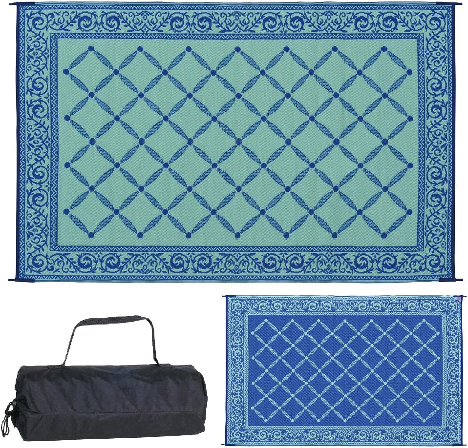 Reversible Mats 116093 Outdoor Patio 6-Feet x 9-Feet, Blue/light-Green RV Camping Mat