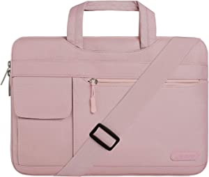 MOSISO Laptop Shoulder Bag Compatible with 13-13.3 inch MacBook Pro, MacBook Air, Notebook Computer, Polyester Flapover Briefcase Sleeve Case, Baby Pink