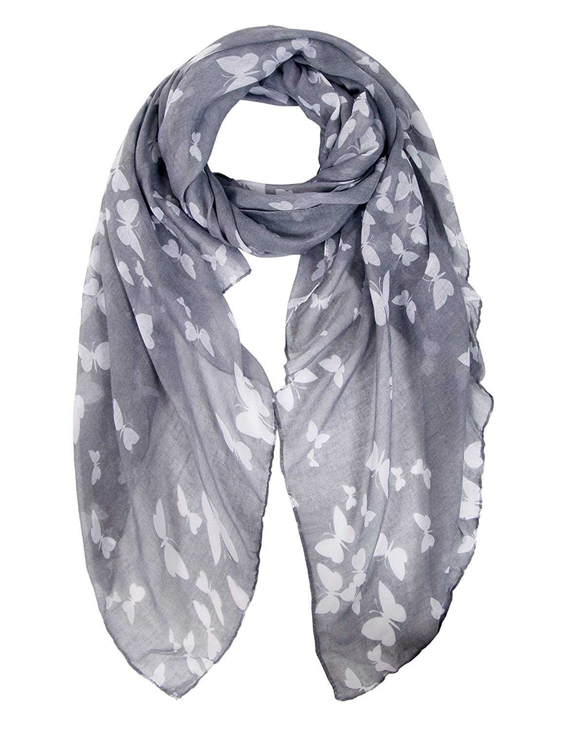 717291898c391 Ladies Women's Fashion Butterfly Print Long Scarves Floral Neck Scarf Shawl  Wrap (Light Gray): Amazon.co.uk: Clothing
