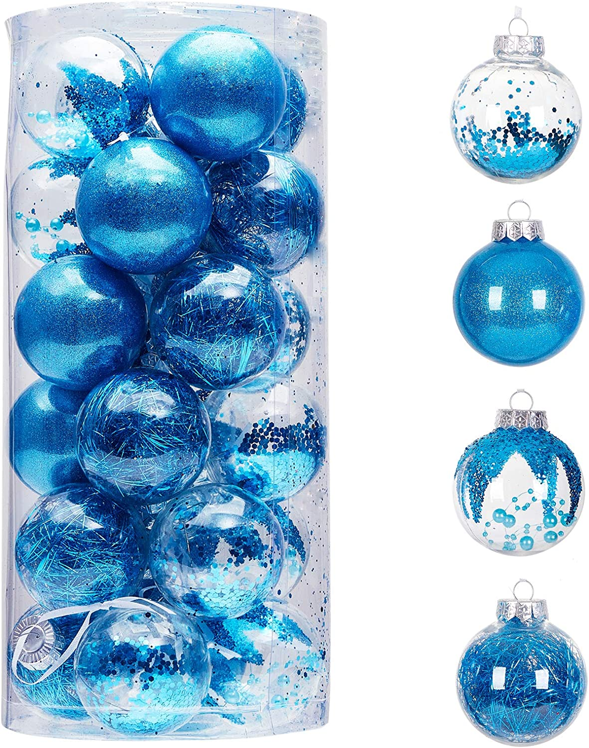 """24ct 70mm/2.76"""" Clear Christmas Ball Ornaments, Shatterproof Plastic Christmas Tree Ornaments Baubles with Stuffed Decorations, Hanging Balls for Xmas and New Year Holiday Home Party Decor, Blue"""