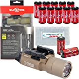 SureFire X300 Ultra High Output 600 Lumens LED WeaponLight Tan with 12 Extra CR123A Batteries and 3 Alliance Gadget Battery Cases