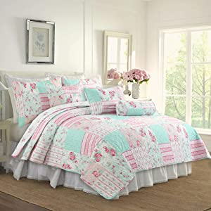 Cozy Line Home Fashions Pink Floral Tiffany Blue Reversible Quilt Bedding Set, Coverlet Bedspread (Pink Garden, King - 3 Piece)