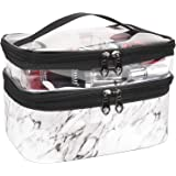 MKPCW Makeup Bags Double layer Travel Cosmetic Cases Make up Organizer Toiletry Bags (White marble)