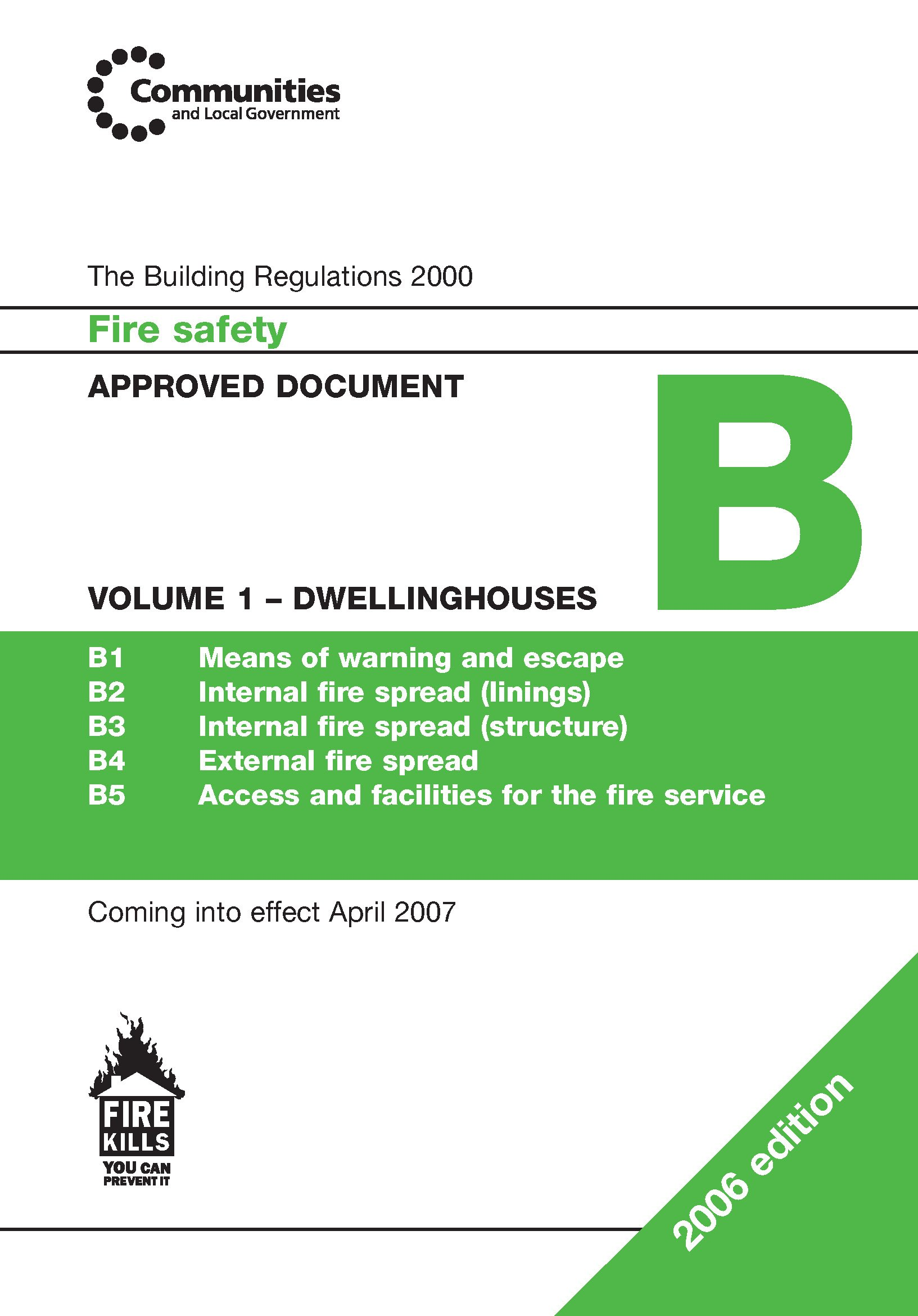 Approved Document B: Dwelling Houses v. 1: Fire Safety pdf