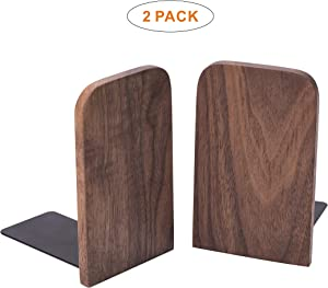 X L MAGNET Vintage Wooden Bookends with Metal Base 2 Pcs Heavy Duty Black Walnut Book Stand with Anti-Skid Dots for Office Desktop or Shelves