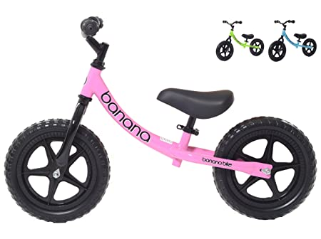 side facing pink banana bike lt balance bike