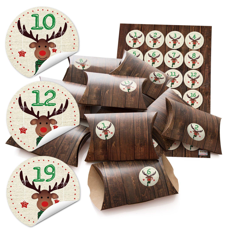 '24petites boîtes cadeau Aspect bois marron avec chiffres autocollants Calendrier de l'Avent