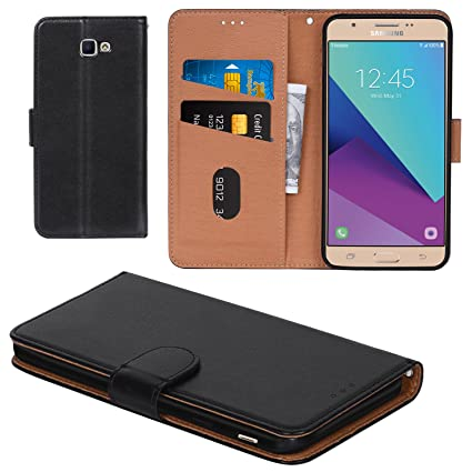 100% authentic fc4e8 9a0fb Galaxy J7 Prime Case, Aicoco Flip Cover Leather, Phone Wallet Case for  Samsung Galaxy J7 Prime - Black