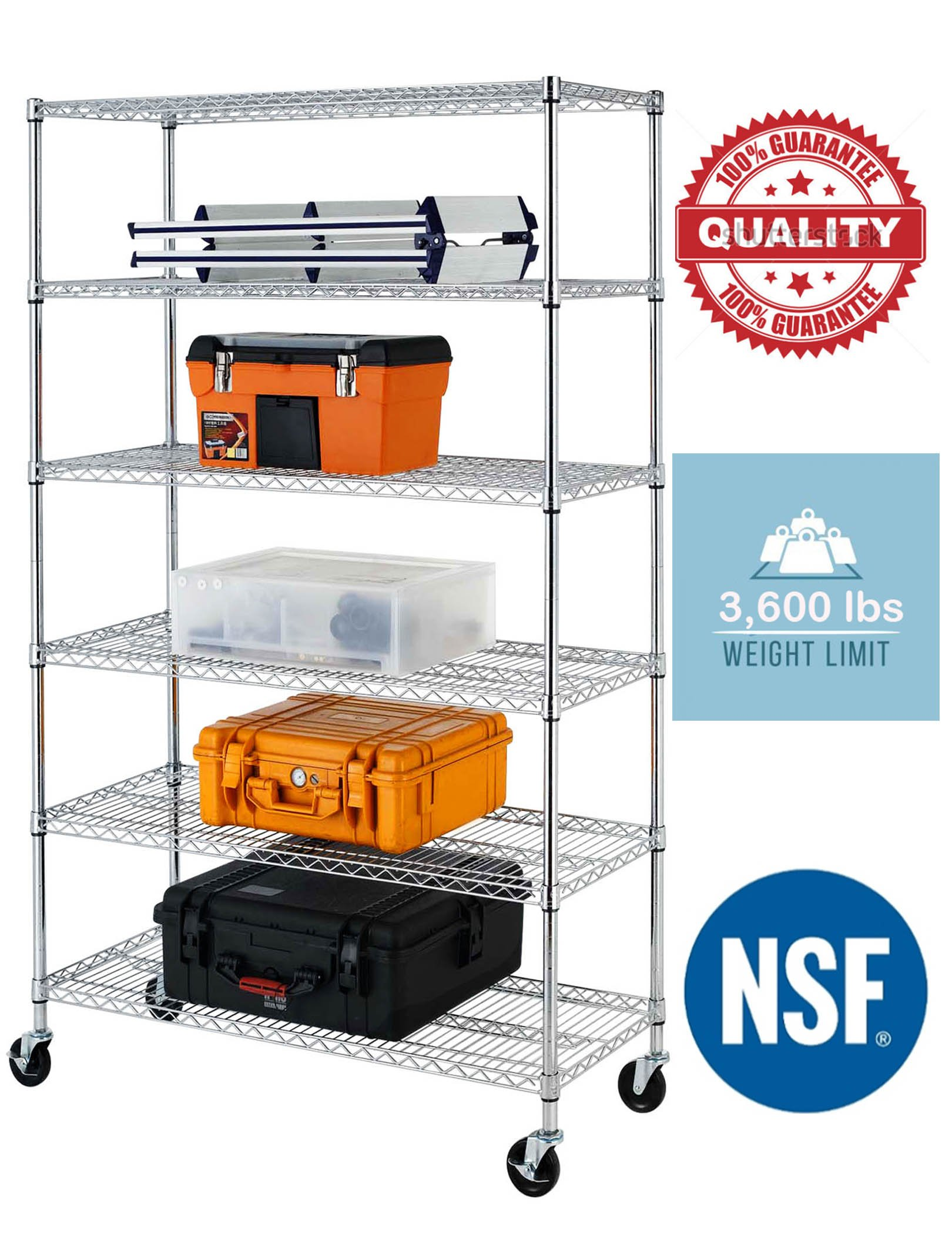 76''(H) x 48''(L) x 18''(D) Chrome Commercial Heavy Duty 6 Layer/Tire Storage Rack Shelf Adjustable Steel Wire Metal Shelving Rack 3600 LBS Capacity