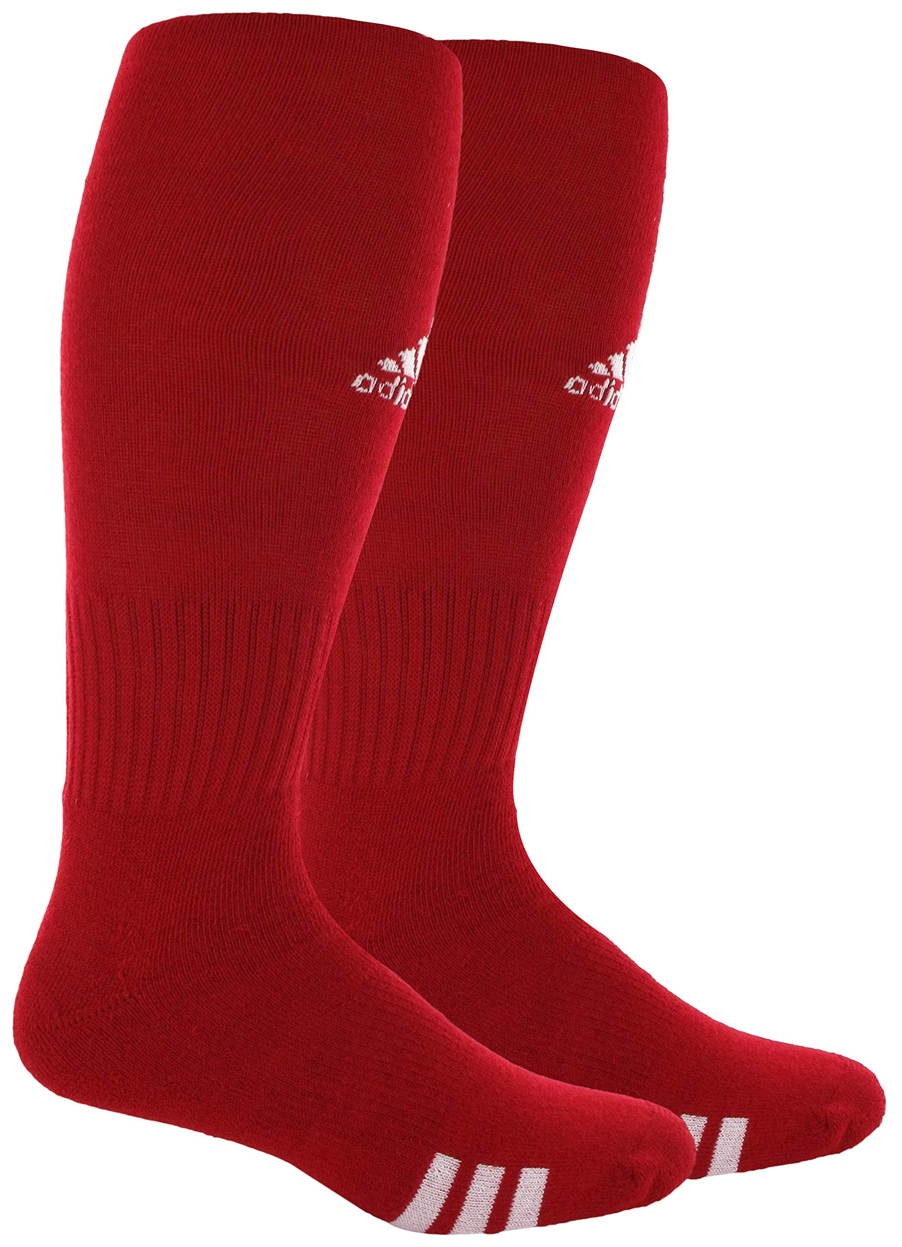 adidas Unisex Rivalry Field OTC Sock (2-Pair), University Red/White, 9-13 by adidas